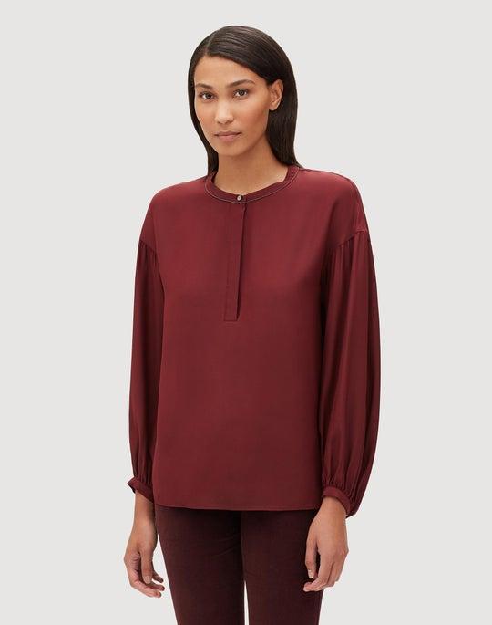 Plus-Size Matte Silk Kenzie Blouse