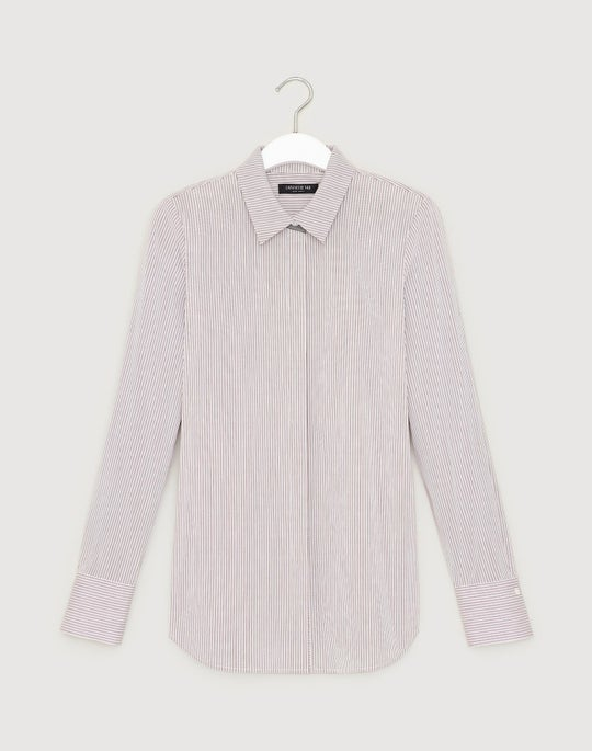 Plus-Size Coy Stripe Shirting Scottie Blouse