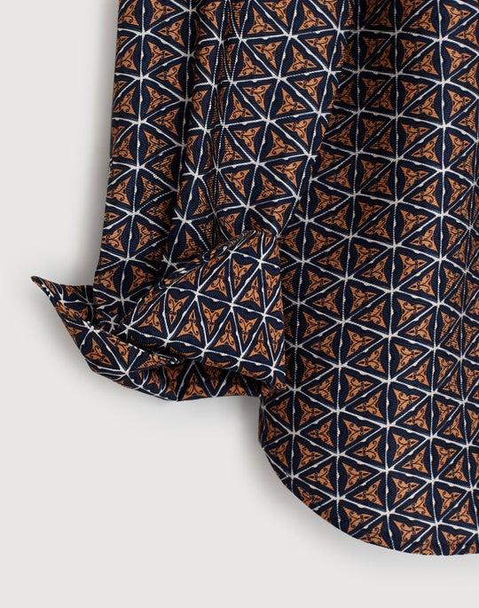 Petite Globetrotter Triangles Silk Jacquard Scottie Blouse