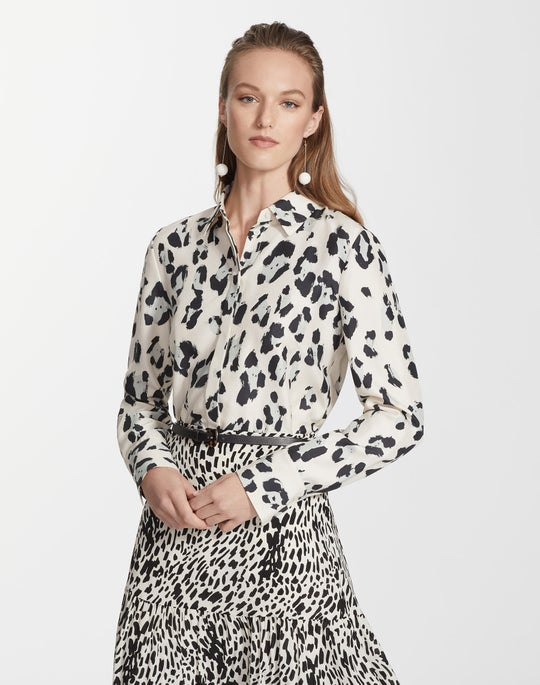 Painted Leopard Print Silk Scottie Blouse