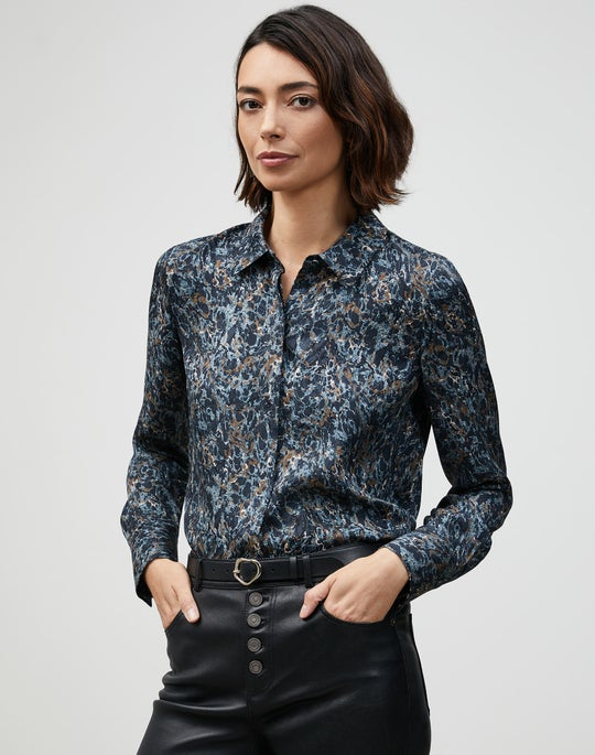 Marble Jacquard Scottie Blouse