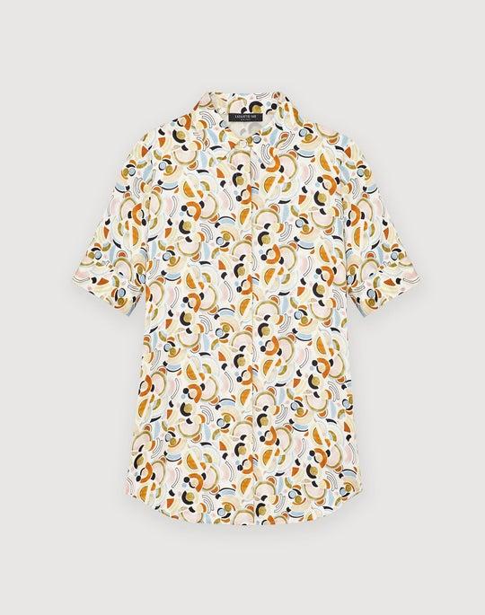 Mini Lyrical Curves Silk Scottie Short Sleeve Blouse
