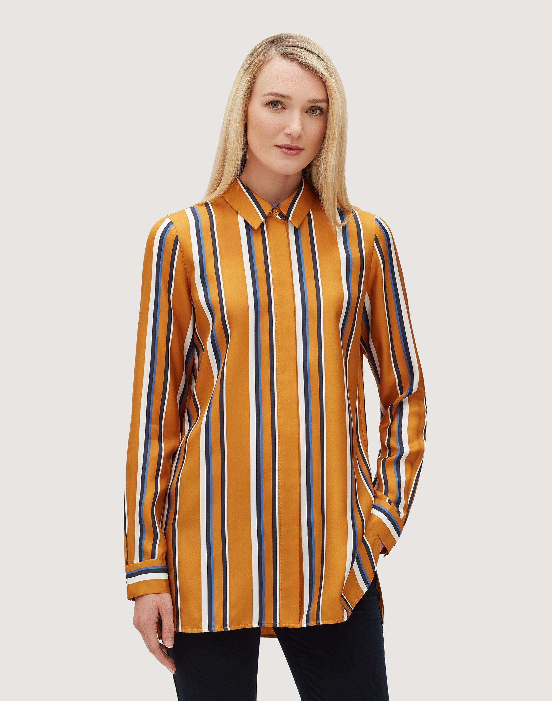 Trailblazer Stripe Silk Barry Blouse Lafayette 148 New York
