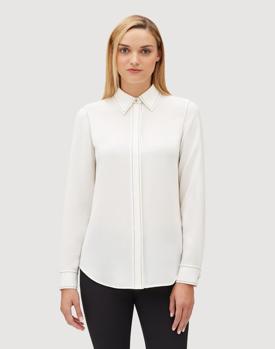 Plus-Size Finesse Crepe Olga Blouse