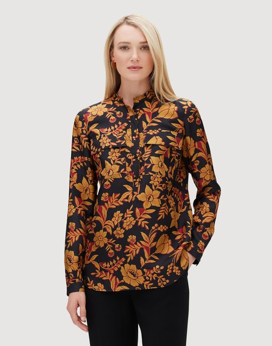 Fanciful Floral Silk Russell Blouse