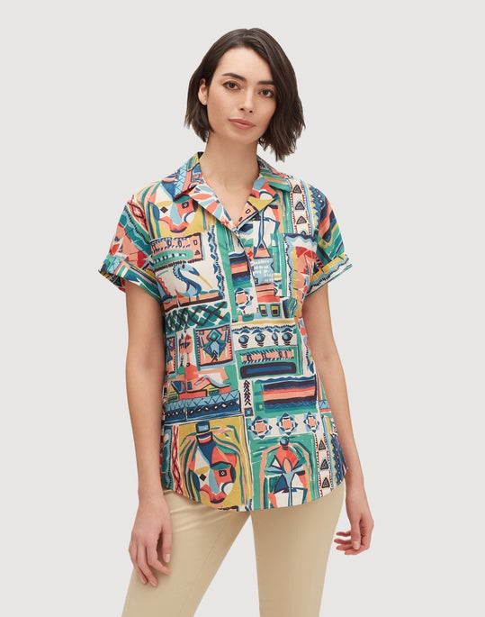 Petite Palazzo Patchwork Print Cotton Huxley Shirt