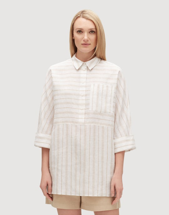 Plus-Size Savena Stripe Linen Malaysia Blouse