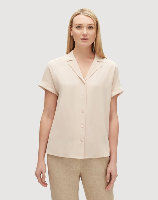 Plus-Size Lightweight Sandwashed Silk Beatrice Blouse