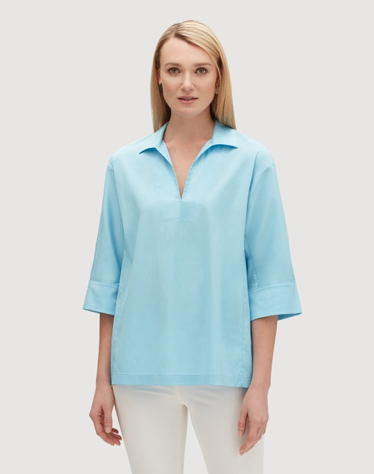 Plus-Size Italian Stretch Cotton Nicole Blouse