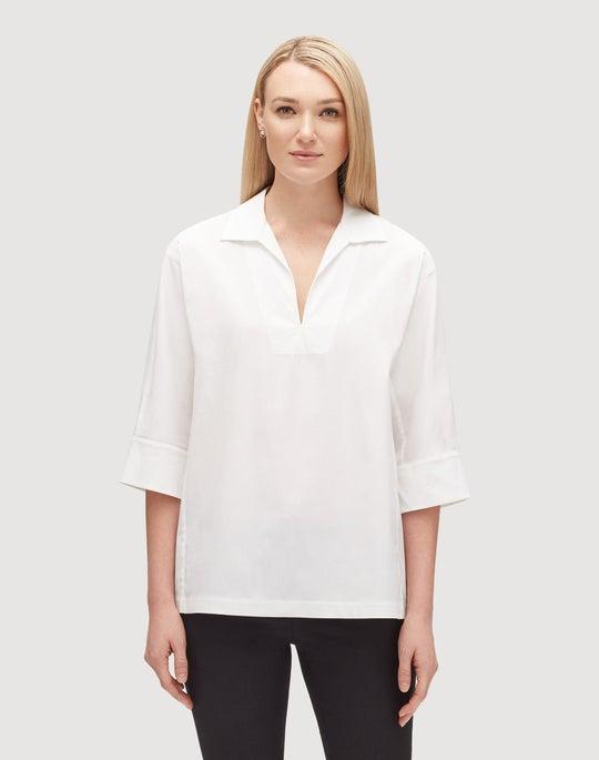 Plus-Size Italian Stretch Cotton Nicole Blouse