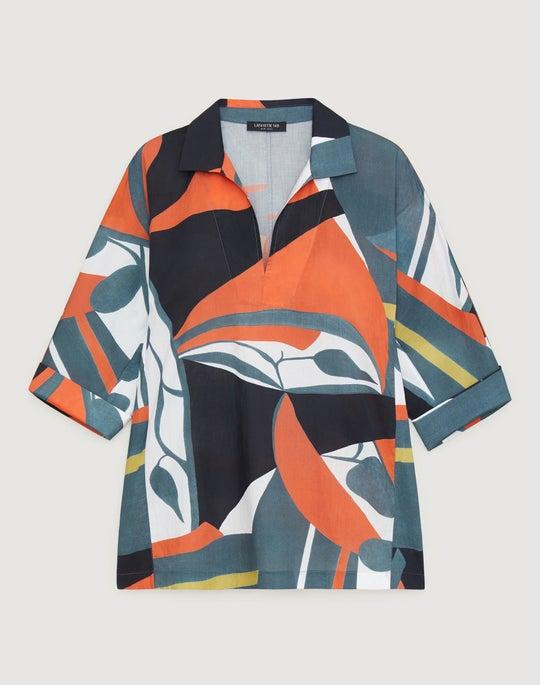Plus-Size Artisan Abstract Print Cotton Nicole Blouse