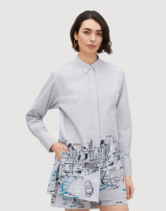 Lido Print Stripe Cotton Kehlani Blouse