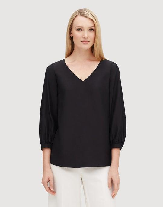 Plus-Size Matte Silk Arnette Blouse