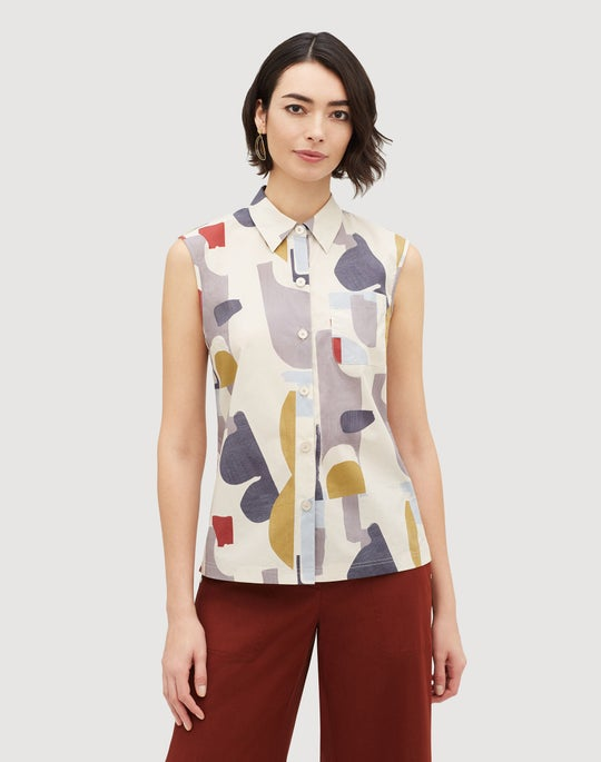 Suspended Abstract Print Cotton Yani Blouse