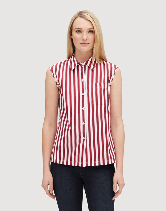 Petite Strada Stripe Cotton Yani Shirt