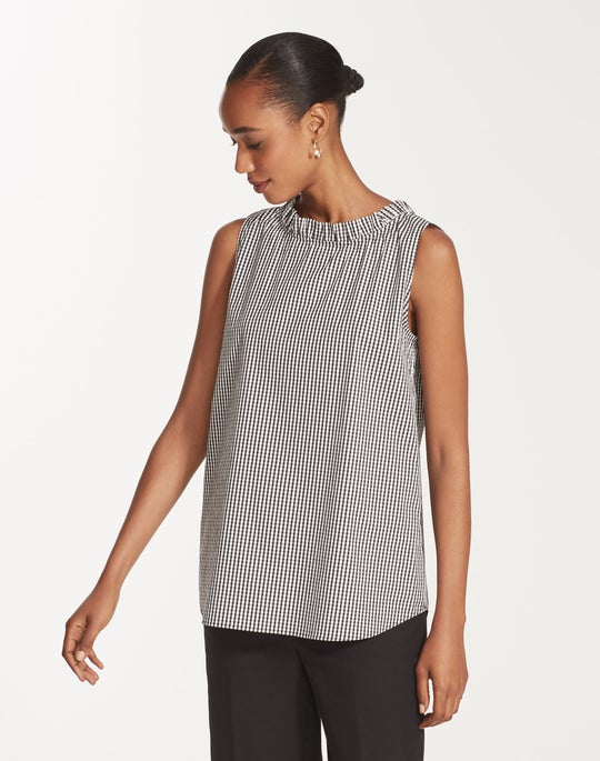 Ithaca Mini Check Shirting Yvette Convertible Blouse