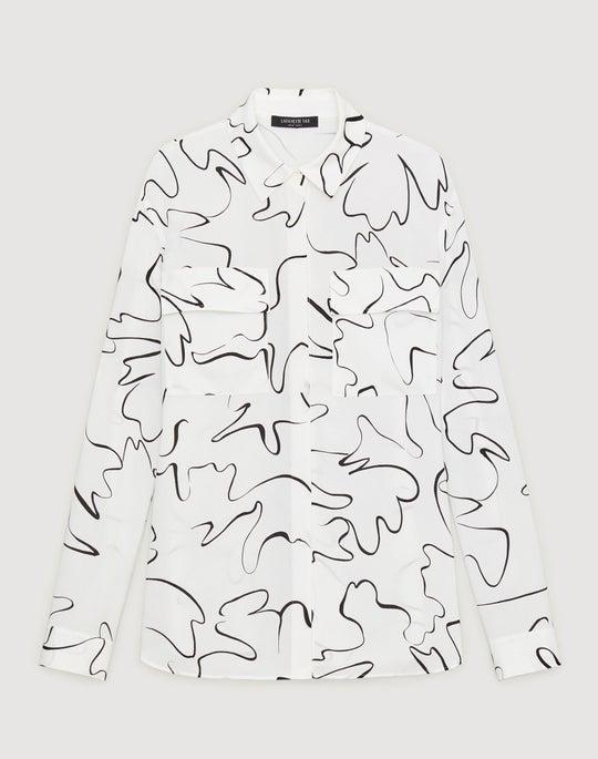 Plus-Size Scribble Print Silk Zora Blouse