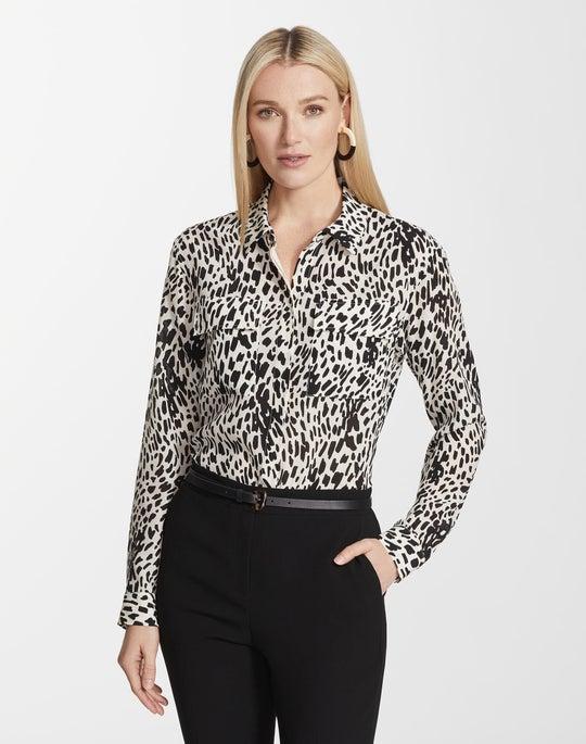 Plus-Size Cheetah Print Silk Zora Blouse