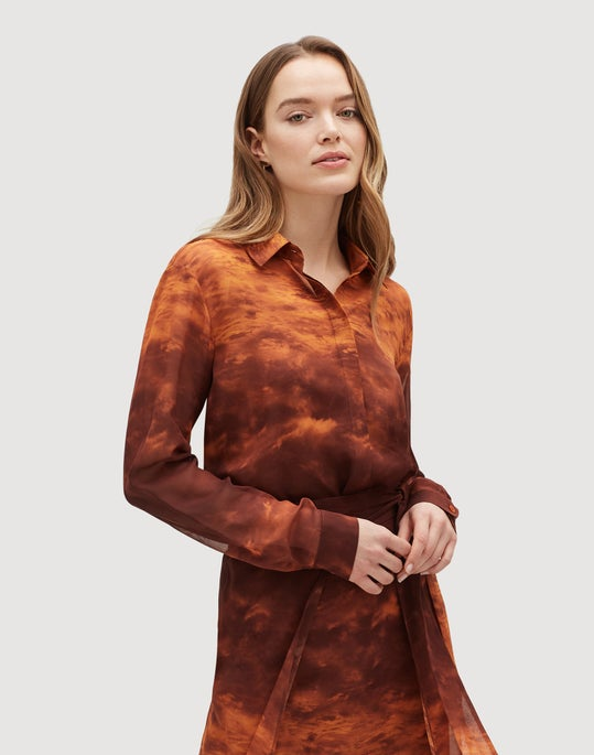 Plus-Size Sunset Sky Print Silk Zora Blouse