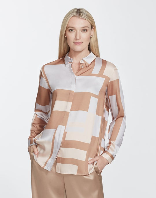 Plus-Size Graphic Block Twill Zora Blouse
