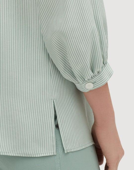 Plus-Size Signore Stripe Silk Gaia Blouse