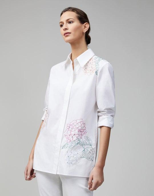 Embroidered Crisp Cotton Poplin Greyson Blouse