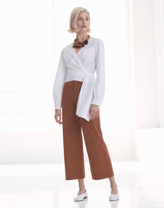 Basilla Wrap Blouse and Cropped Clark Pant