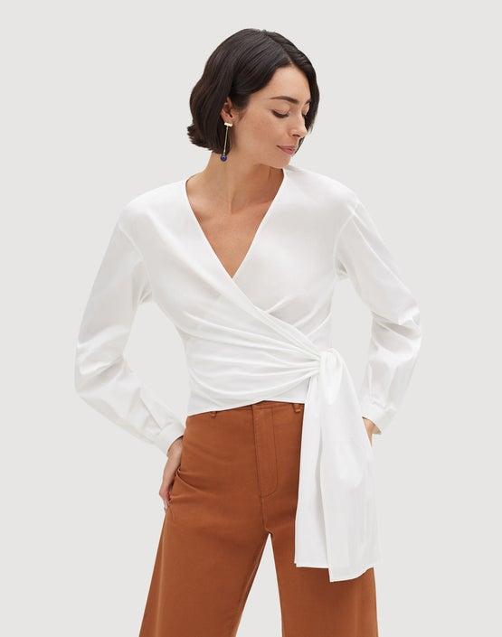 69fe062af46 Italian Stretch Cotton Basilla Wrap Blouse