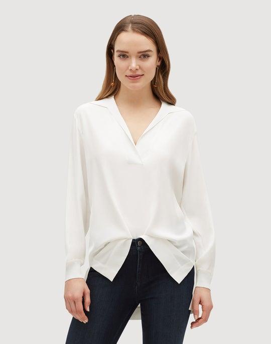 Plus-Size Matte Silk Boyd Blouse