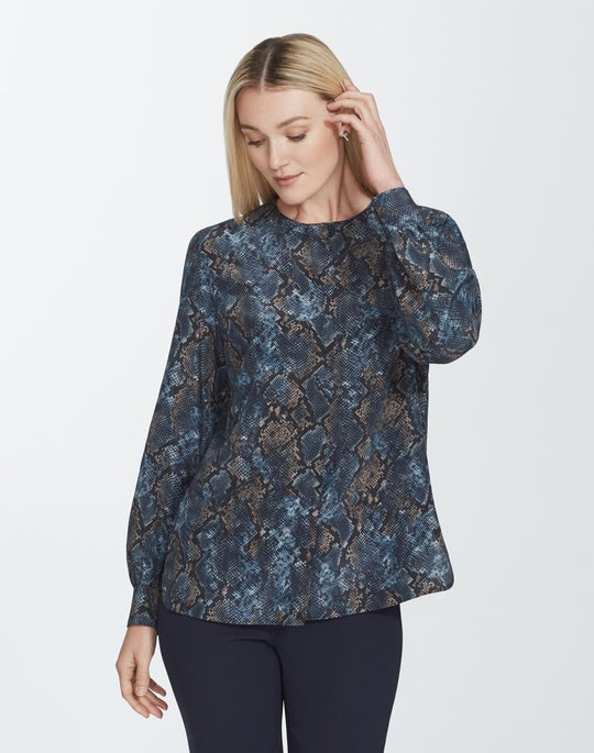 Plus-Size Sophisticated Snake Silk Jenalee Blouse