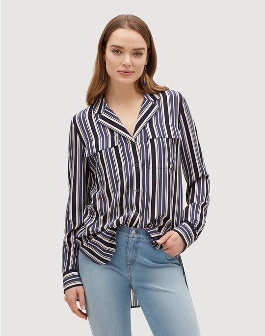 Plus-Size Painted Desert Stripe Maximina Blouse