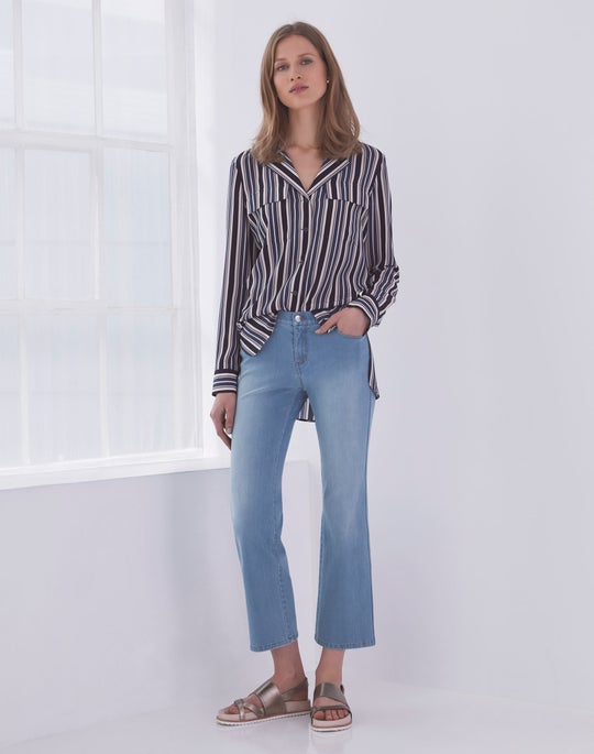 Maximina Blouse and Cropped Mercer Flare Jean