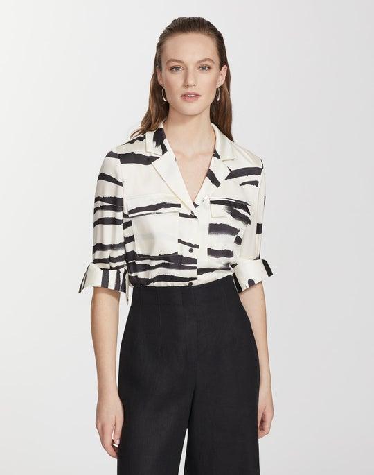 Plus-Size Painted Zebra Stripe Print Twill Maximina Blouse