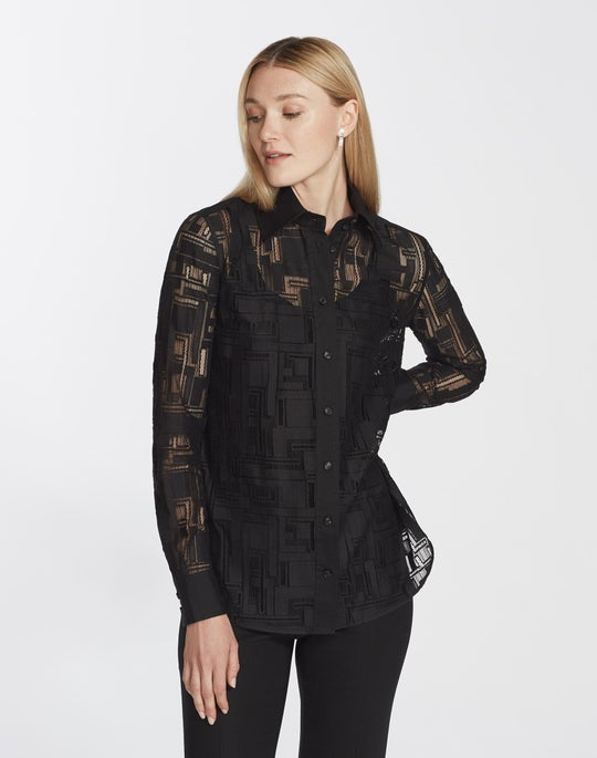 Petite Italian Linear Lace James Blouse