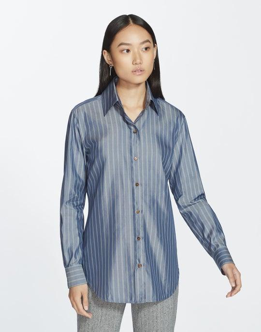 Plus-Size Genteel Stripes James Blouse