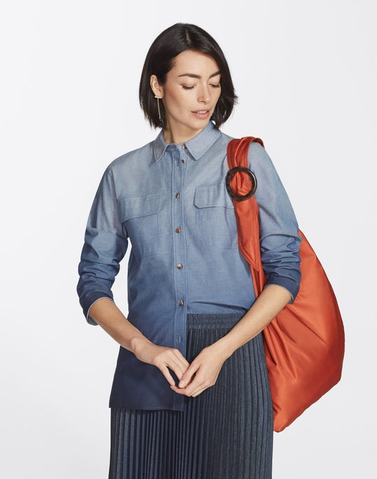 Petite Chambray Ombré Nicolina Blouse