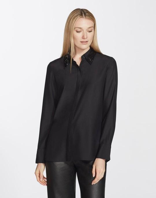 Plus-Size Matte Silk Julianne Blouse