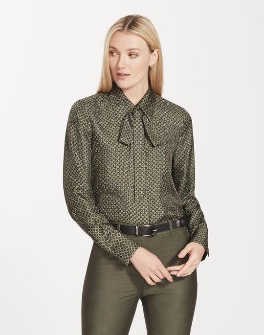 Plus-Size Mini Modernist Circles Print Silk Diana Blouse