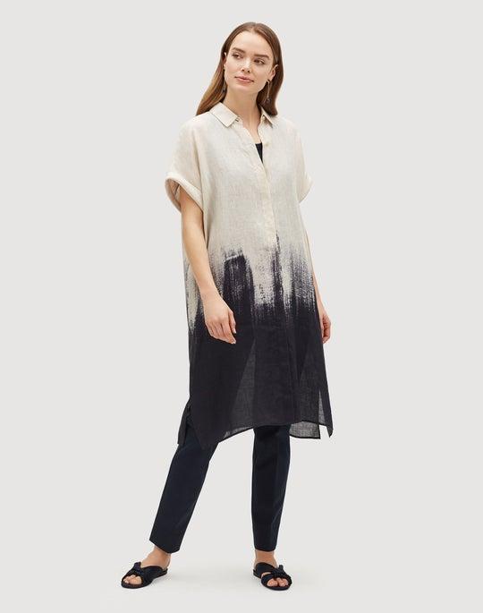 Plus-Size Whirlwind Ombré Print Linen Jasarah Duster