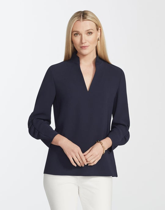 Plus-Size Finesse Crepe Loretta Blouse