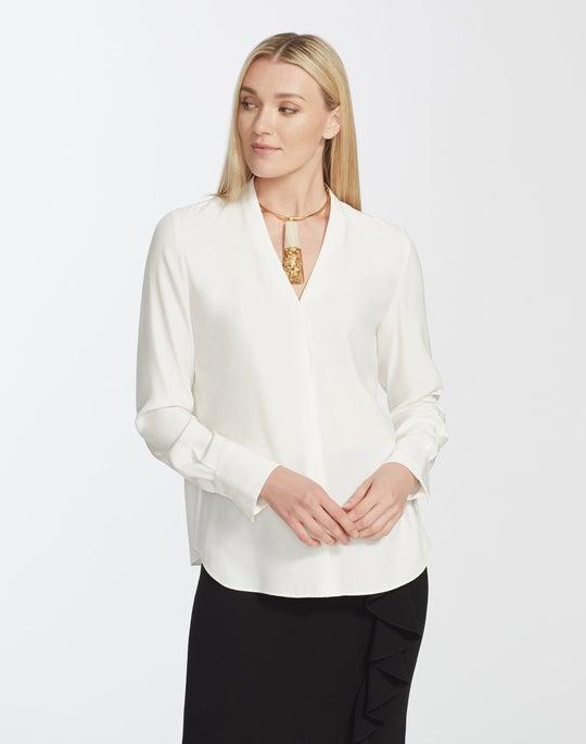 Plus-Size Matte Silk Margaret Blouse
