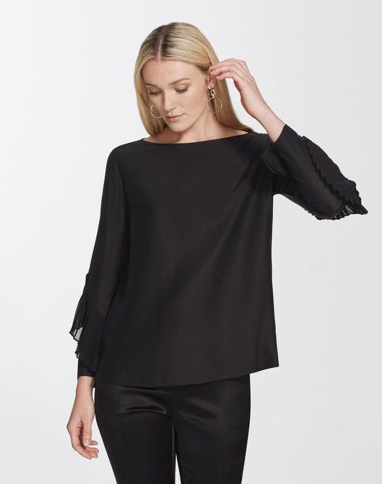 Plus-Size Matte Silk Alessia Blouse