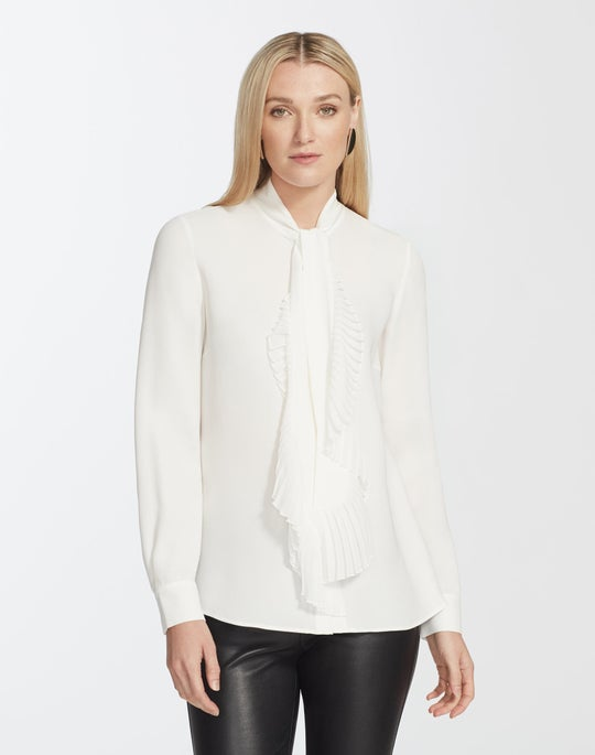 Plus-Size Silk Double Georgette Bates Blouse