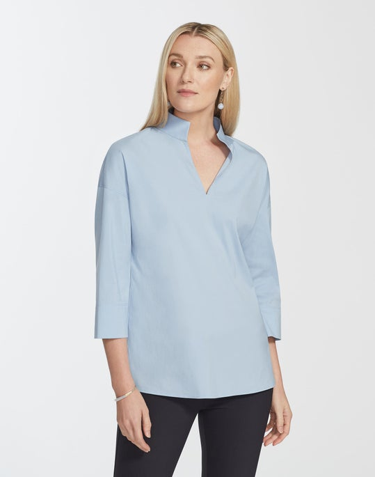 Petite Italian Stretch Cotton Hawkins Blouse