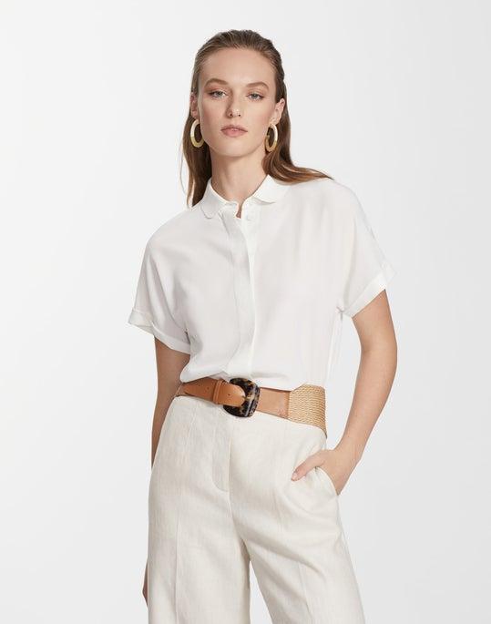 Plus-Size Lightweight Sandwashed Silk Blaine Blouse