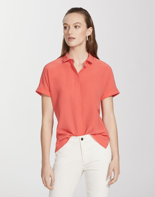 Plus-Size Lightweight Sandwashed Silk Blaine Blouse