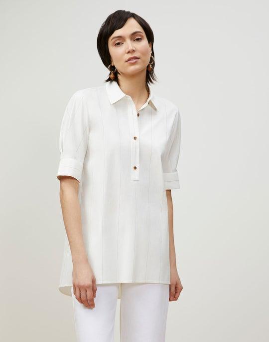 Plus-Size Boyes Shirt In Striped Italian Cotton