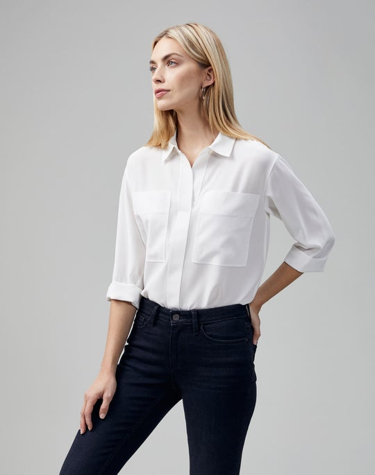 Petite Light Weight Sandwashed Silk  Klein Blouse