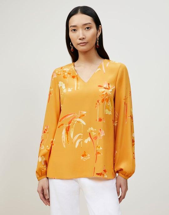 Melba Blouse In Oasis Print Silk