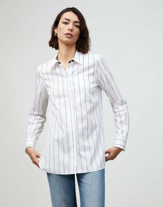 Plus-Size Pencil Stripe Ruxton Shirt